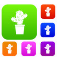 cactus set color collection vector image vector image