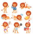 cartoon lion kids leo character wild vector image vector image