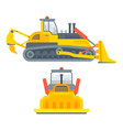 caterpillar bulldozer side view and front view vector image