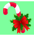 Christmas candy decorated with holly and ribbon vector image