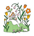 easter composition floral spring vector image vector image