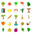 fallen foliage icons set cartoon style vector image vector image