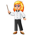 female teacher holding a pointing stick vector image