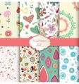 floral pattern set seamless background vector image vector image