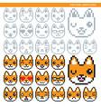 fox pixel emoticons vector image vector image