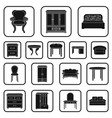furniture and interior black icons in set vector image vector image