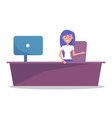 girl secretary or receptionist at counter with vector image