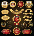gold and red retro sale badges and labels vector image vector image