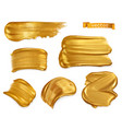 gold paint smear 3d realistic set vector image