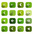 Green Flat Design Arrows Set in Rounded Squares vector image vector image