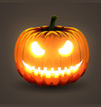 halloween pumpkin with glowing eyes on dark vector image vector image