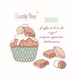 hand drawn cupcake milk chocolate flavor vector image vector image
