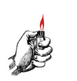 hand with lighter vector image vector image