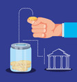 hand with saving coin and bank building vector image vector image