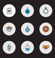 happy icons colored line set with snowman vector image