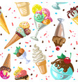 icecream seamless pattern design isolated vector image vector image