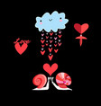 in love with cloud and snails vector image vector image
