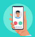 incoming call cartoon hand holding ringing vector image
