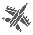 jet fighter glyph icon air and army airplane vector image vector image