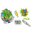 marijuana set sticker vector image