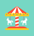 merry go round icon amusement park related flat vector image