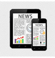 news articles on tablet pc and mobile phone vector image