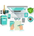 Office Worplace With Utilities And Stationary vector image