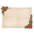 old paper sheet and red roses vector image vector image