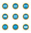 partition icons set flat style vector image