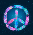 peace sign made colored bird feathers hippie vector image