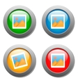 photo icon on set glass buttons vector image vector image