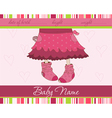 pink baby girl arrival announcement card with funn vector image vector image