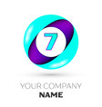 realistic number seven in colorful circle vector image vector image