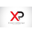 red and black xp x p letter logo design creative vector image vector image