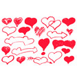 red heart set textured love hearts for valentine vector image