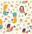 seamless pattern with cute mermaids vector image vector image