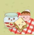 set of camping food kawaii characters vector image vector image