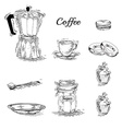 Set of coffee elements vector image vector image
