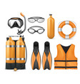 set of diving equipment scuba gear vector image vector image