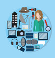 set of journalism icons vector image vector image