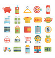 Set of shopping icons in flat design