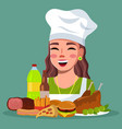 smiling woman cook with unhealthy high-calories vector image