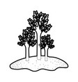 trees set in grassland in black silhouette with vector image vector image