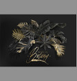 Tropical leaves black and gold botany banner