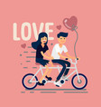 two lovers riding tandem bike vector image vector image