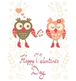 Valentines day card with owls vector image