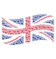 waving united kingdom flag mosaic of chemistry vector image