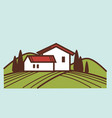 winery and vineyard farm house winemaking vector image