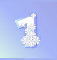 winter one 1 number with snowflakes ice vector image