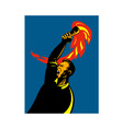 worker with flaming torch vector image vector image